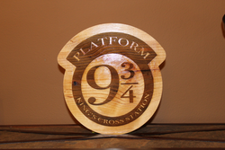 Hogwarts Express Platform 9 3/4 Wood Engraved Wall Plaque Art Sign