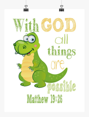 Rex Toy Story Christian Nursery Decor Print, With God all things are Possible, Matthew 19:26