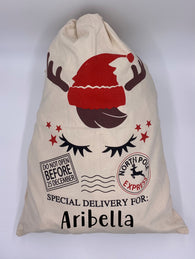Reindeer Personalized Santa Sack in Natural Canvas North Pole Santa Claus Presents Bag