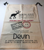 Personalized Santa Sack in Natural Canvas with Reindeer - North Pole Santa Claus Presents Bag