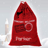 Personalized Red Santa Sack in Canvas with Reindeer - North Pole Santa Claus Presents Bag