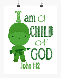 Sarge Toy Story Christian Nursery Decor - I am a Child of God - John 1:12