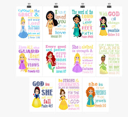 Disney Princesses - Christian Nursery Decor Wall Art Set of 11 Printables - Instant Download