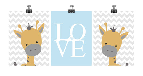 Baby Boy Giraffe Blue and Gray Chevron Nursery Art Decor Set of 3 Prints