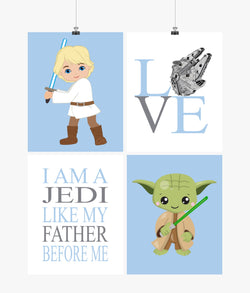 Star Wars Nursery Decor Set of 4 Prints - Luke Skywalker, Yoda, Love, I Am A Jedi Like My Father Before Me