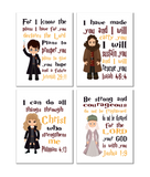 Christian Nursery Decor Set of 4 Prints, Harry Potter, Dumbledore, Hagrid and Hermione