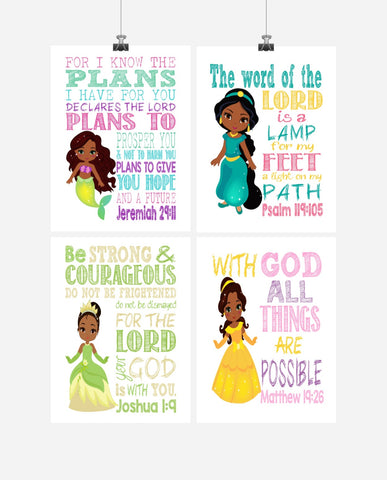 African American Princess Set of 4 - Christian Nursery Decor Wall Art Print - Ariel, Jasmine, Tiana and Belle