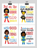 African American Christian Superhero Nursery Decor Art Print Set of 4 -Wonder Woman, Catgirl, Supergirl and Hulk