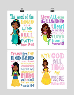 African American Princess Set of 4 - Christian Nursery Decor Wall Art Print - Ariel, Jasmine, Belle, Mulan