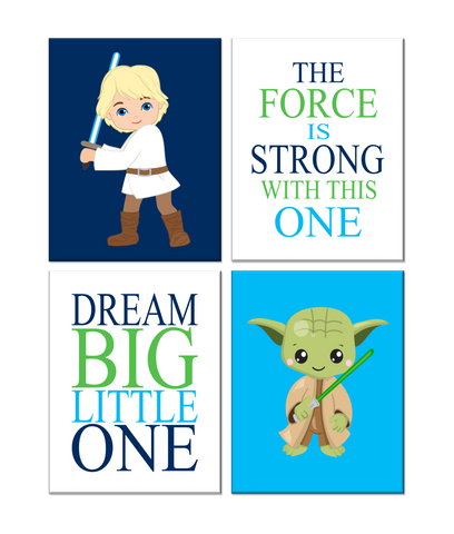 Star Wars Nursery Decor Set of 4 Prints, Yoda and Luke Skywalker, Dream Big Little Jedi, The Force Is Strong With This One
