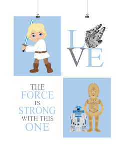 Star Wars Nursery Decor Set of 4 Prints - Luke Skywalker, Love, R2D2, C3PO, The Force is Strong with this One