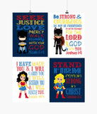 Superhero Christian Nursery Decor Art Set of 4 Prints - Batman, Catgirl, Supergirl and Wonder Woman