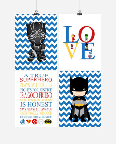 Superhero Rules Nursery Decor Set of 4 Prints - Love, Black Panther, Batman, Superhero Rules