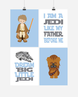 Star Wars Nursery Decor Set of 4 Prints - Luke Skywalker, Chewbacca, I Am A Jedi, Dream Big