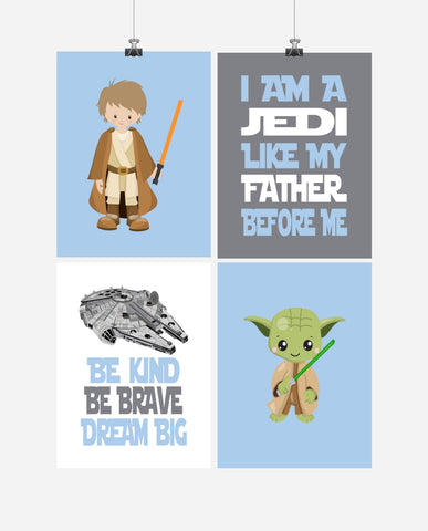 Star Wars Nursery Decor Set of 4 Prints - Luke Skywalker, Yoda, I Am A Jedi, Dream Big