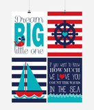 Nautical Nursery Decor Set of 4 Prints in Blue, Teal and Red, If you want to Know how much we Love you Count the Waves in the Sea