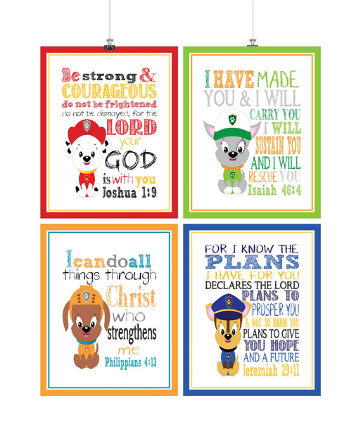 Paw Patrol Christian Nursery Decor Set of 4 Prints with Chase, Marshall, Rocky and Zuma