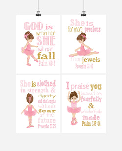 Ballerina Christian Nursery Decor Set of 4 Prints with Bible Verses