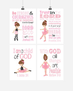 Ballerina Christian Nursery Decor Set of 4 Prints - Brunette Ballerinas in Pink