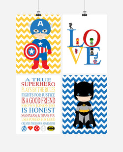 Superhero Rules Nursery Decor Set of 4 Prints - Love, Captain America, Batman