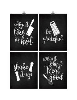 Funny Kitchen Minimalist Art Print Set of 4 - Chalkboard Kitchen Utensil Art