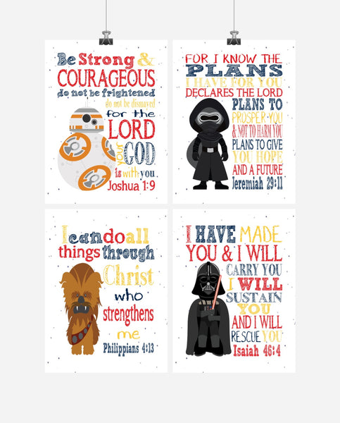 Star Wars Inspirational Nursery Decor Set of 4 Prints - BB8, Chewbacca, Darth Vader and Kylo Ren