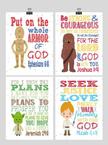 Star Wars Christian Nursery Decor Set of 4 Prints with Luke Skywalker, Yoda, C-3PO, Chewbacca