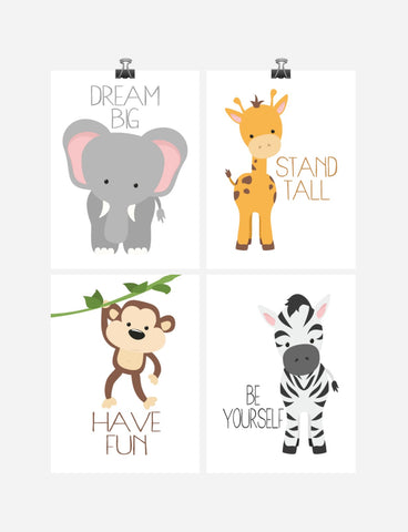 Safari Animals Motivational Nursery Art Print Set of 4 - Elephant Giraffe Zebra Monkey