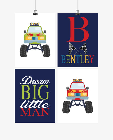 Personalized Monster Trucks Kids Room Prints Set of 4 Dream Big Little Man