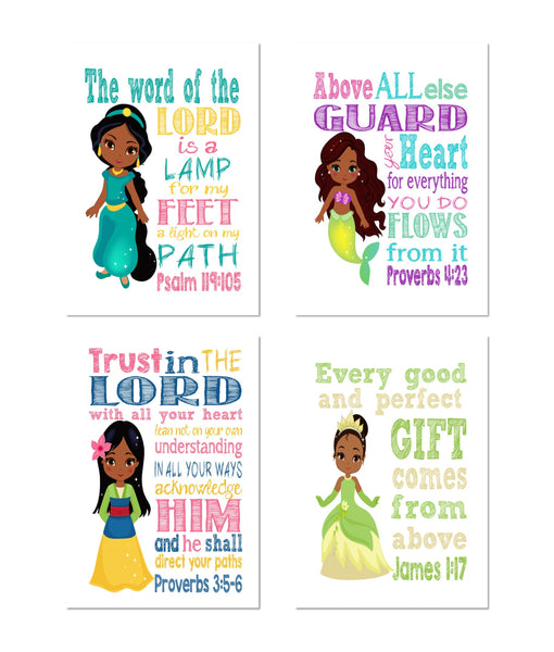 African American Princess Christian Nursery Decor Set of 4 Prints, Ariel, Jasmine, Tiana and Mulan with Bible Verses