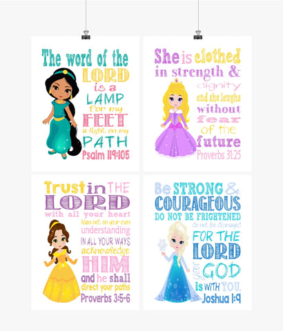 Christian Princess Nursery Decor Set of 4 Printables, Jasmine, Aurora, Belle and Elsa with Bible Verses - Instant Download