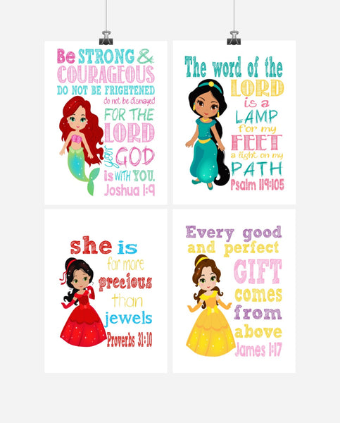 Princess Set of 4 - Christian Nursery Decor Wall Art Print - Ariel, Jasmine, Elena and Belle