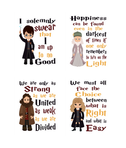 Harry Potter Quotes Nursery Decor Set of 4 Prints - Dumbledore, Hagrid and Hermione