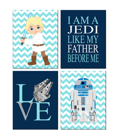 Star Wars Nursery Decor Set of 4 Prints, I Am A Jedi Like My Father Before Me, Love, Luke Skywalker and R2D2