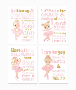 Blonde Ballerina Christian Nursery Decor Set of 4 Prints in Pink and Gold with Bible Verses