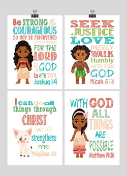 Moana Christian Nursery Decor Wall Art Set of 4 Prints - Moana, Pua, Maui and Sina