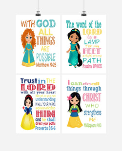 Princess Christian Nursery Decor Set of 4 Prints, Snow White, Merida, Jasmine and Mulan with Bible Verses