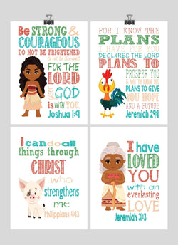 Moana Christian Nursery Decor Wall Art Set of 4 Prints - Moana, Pua, Hei Hei and Gramma Tala