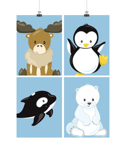 Arctic Animals Nursery Art Print Set of 4 - Moose, Penguin, Orca and Polar Bear