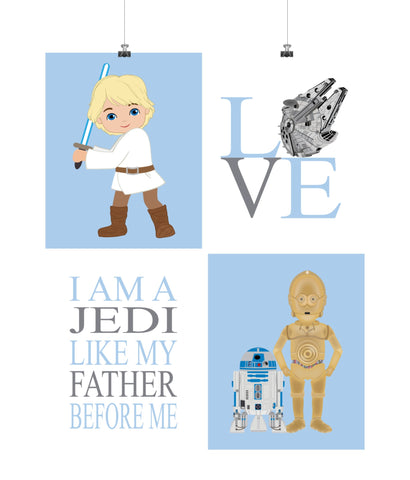 Star Wars Nursery Decor Set of 4 Prints - Luke Skywalker, Love, R2D2, C3PO, I am a Jedi Like My Father Before Me