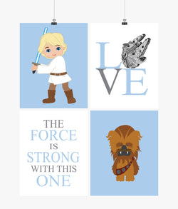 Star Wars Nursery Decor Set of 4 Prints - Luke Skywalker, Love, Chewbacca, The Force is Strong with this One