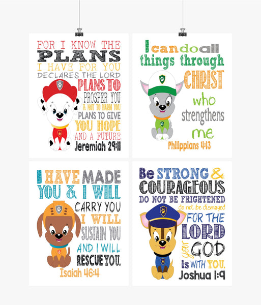Paw Patrol Nursery Decor Art Print Set of 4 - Chase, Marshall, Rocky and Zuma - Bible Verse - Multiple Sizes