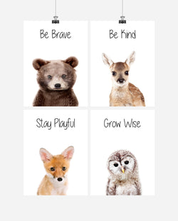 Woodland Nursery Art Set of 4 Prints - Stay Playful, Be Brave, Grow Wise, Be Kind