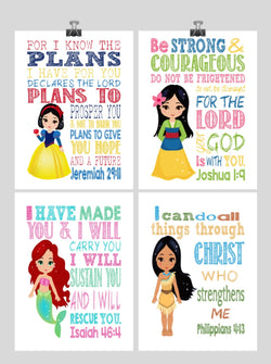 Princess Set of 4 - Christian Nursery Decor Wall Art Print - Snow White, Mulan, Ariel and Pocahontas - Bible Verse - Multiple Sizes