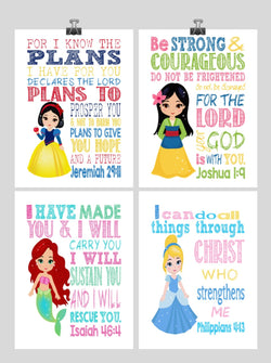 Princess Set of 4 - Christian Nursery Decor Wall Art Print - Snow White, Mulan, Ariel and Cinderella - Bible Verse - Multiple Sizes