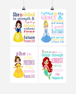 Princess Christian Nursery Decor Set of 4 Prints- Snow White, Cinderella, Belle, Ariel