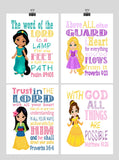 Christian Princess Art Set of 4 Prints, Rapunzel, Jasmine, Belle, Mulan with Bible Verses