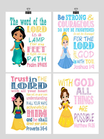 Princess Christian Nursery Decor Set of 4 Prints, Cinderella, Jasmine, Belle, Mulan with Bible Verses