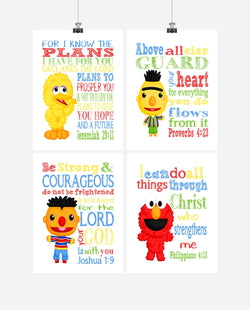 Sesame Street Nursery Decor Set of 4 Prints, Big Bird, Elmo, Bert and Ernie with Bible Verses