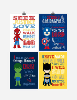 Superhero Christian Nursery Decor Art Print Set of 4 -Batman, Captain America, Spider-Man and Hulk